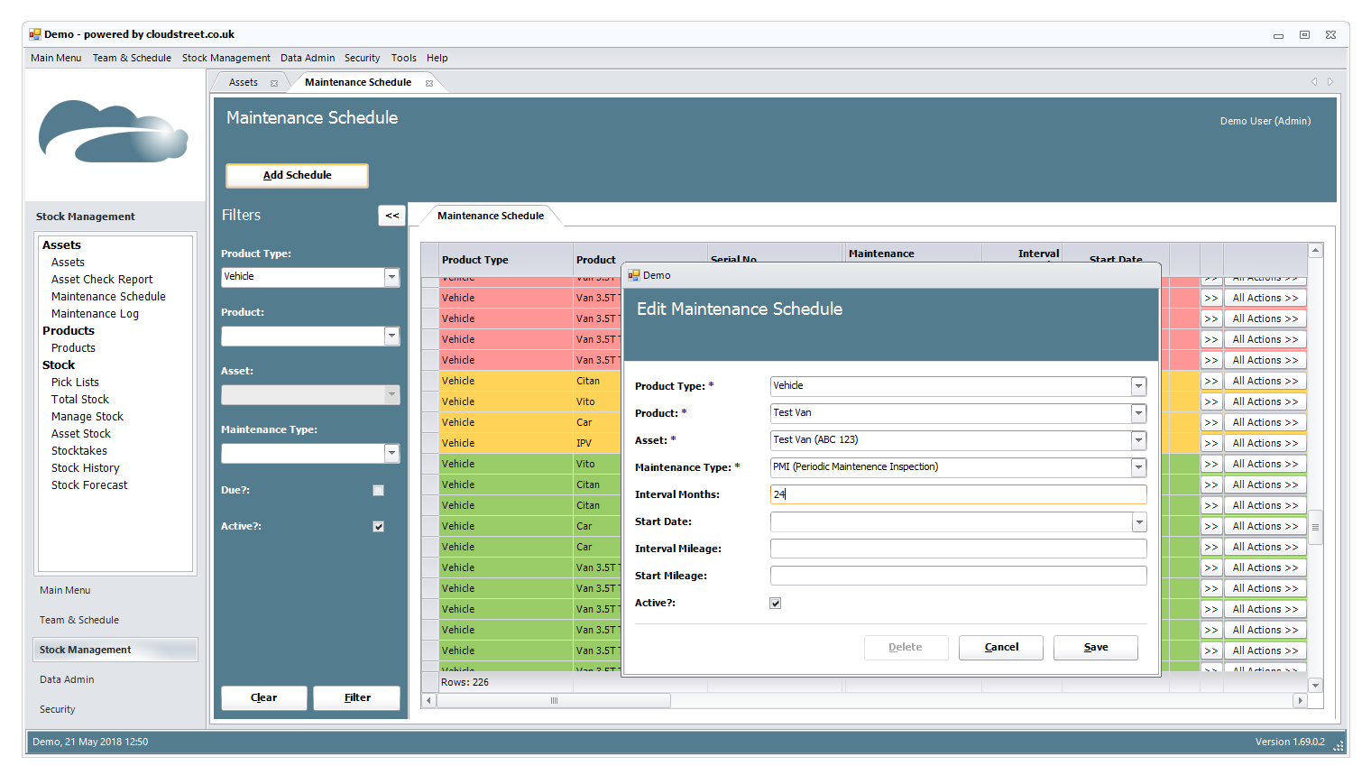 Asset management software screenshot