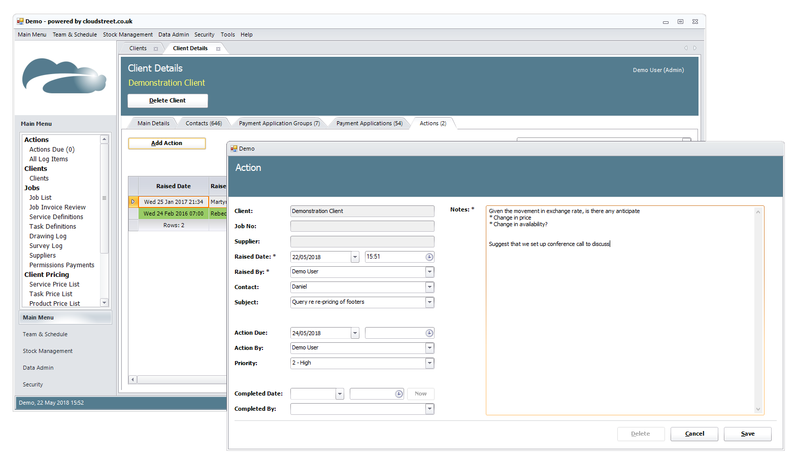 Client and supplier management software screenshot