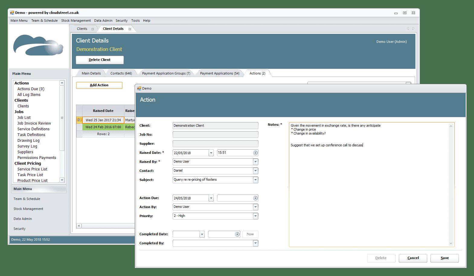 Client and supplier management software screenshot