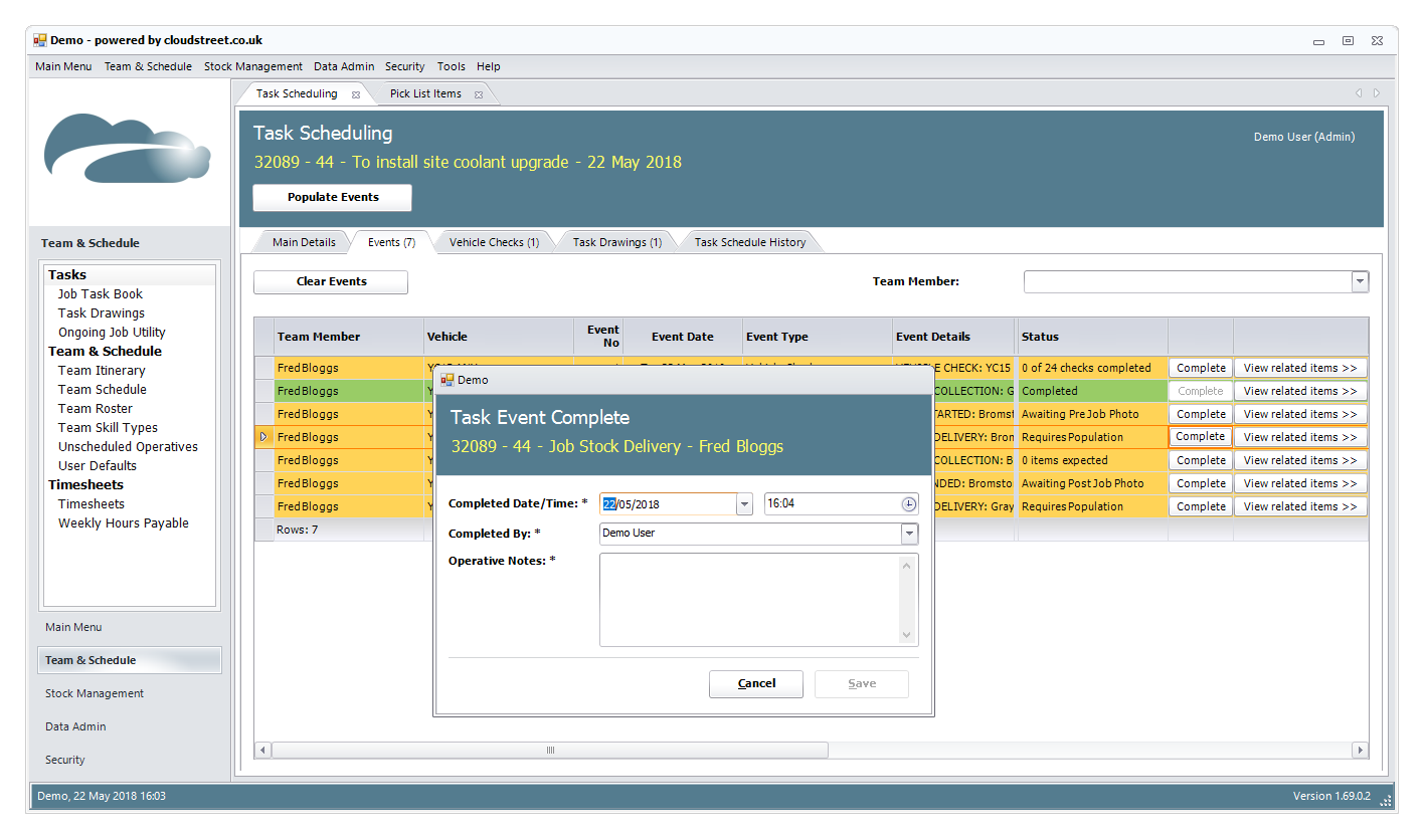Delivery, dispatch and distribution software screenshot