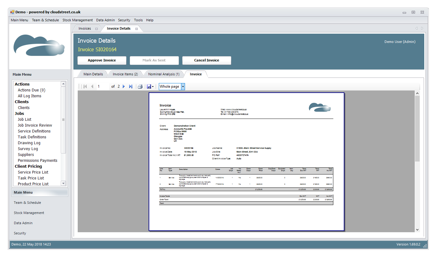 Invoice management software screenshot