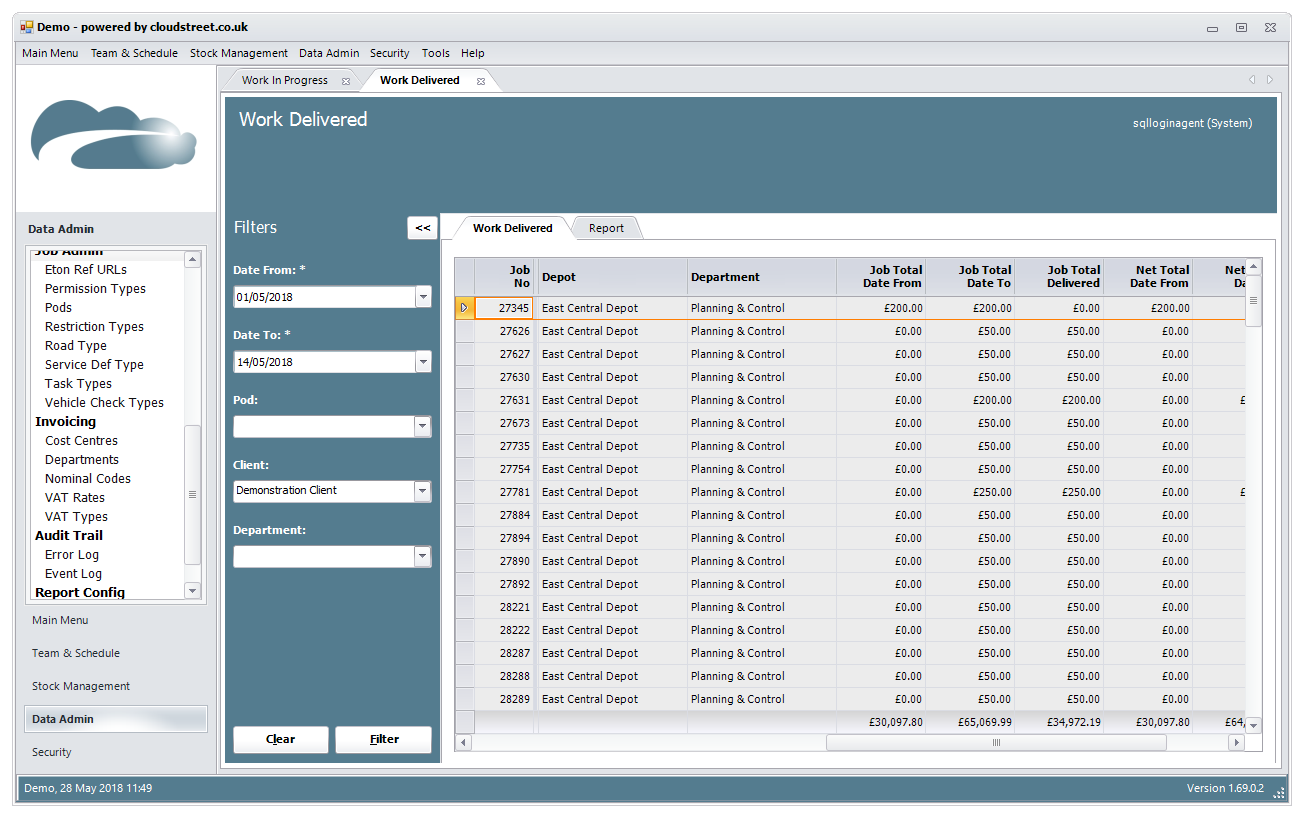 Management reporting software screenshot