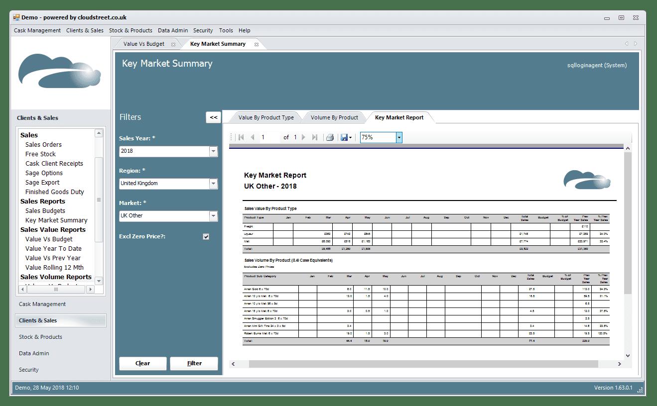 Management reporting software screenshot
