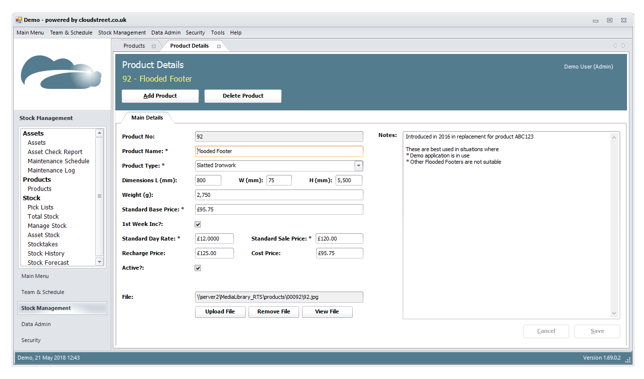 Product management and specifications software screenshot