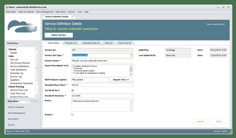 Quotations and estimates software screenshot