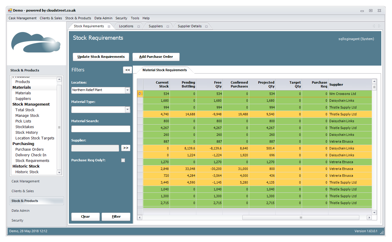 Sales and purchase order management software screenshot