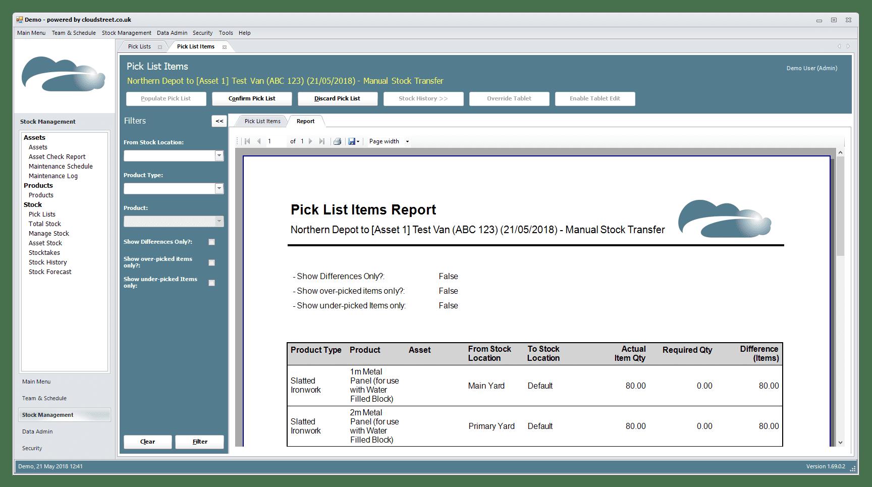 Stock control software screenshot