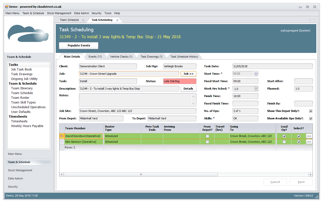 Production and work scheduling software screenshot