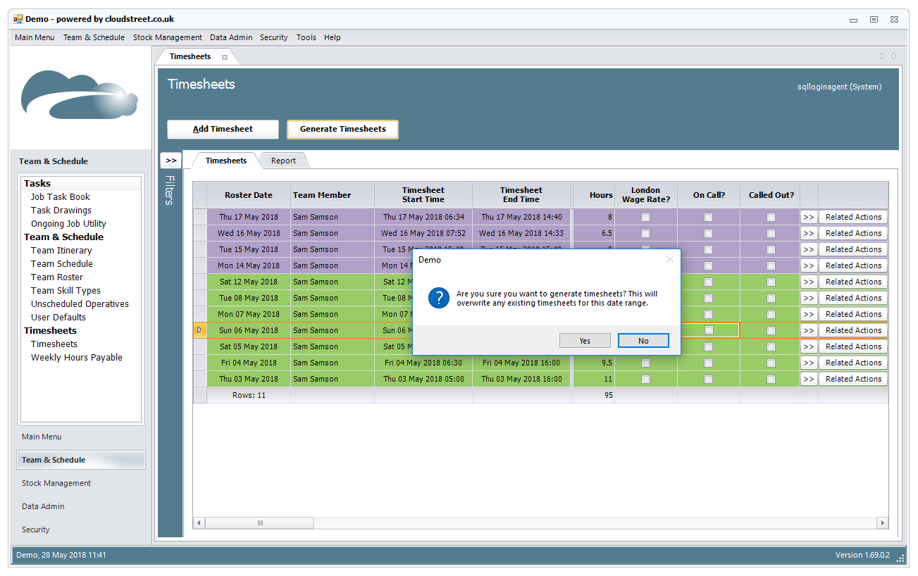 Timesheet and resource scheduling software screenshot