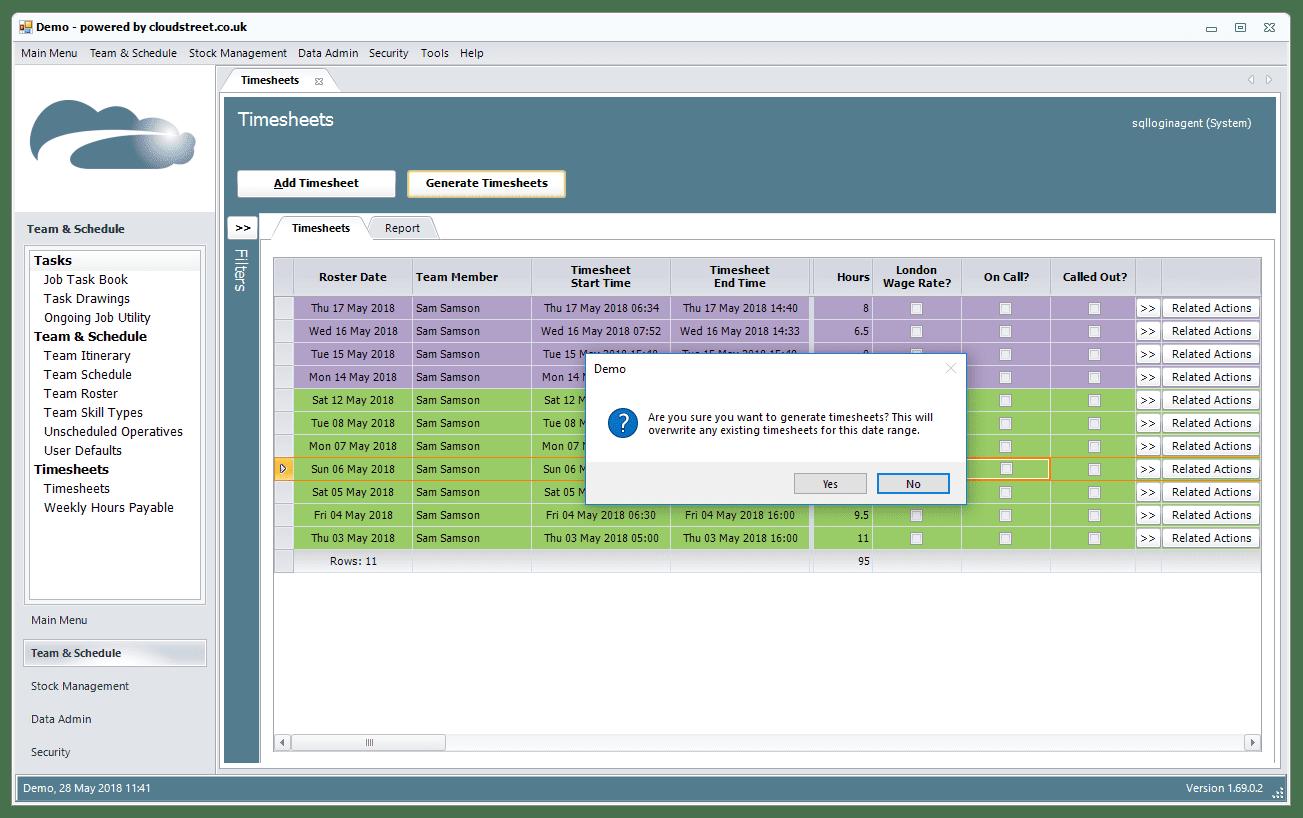 Timesheet and resource scheduling software screenshot