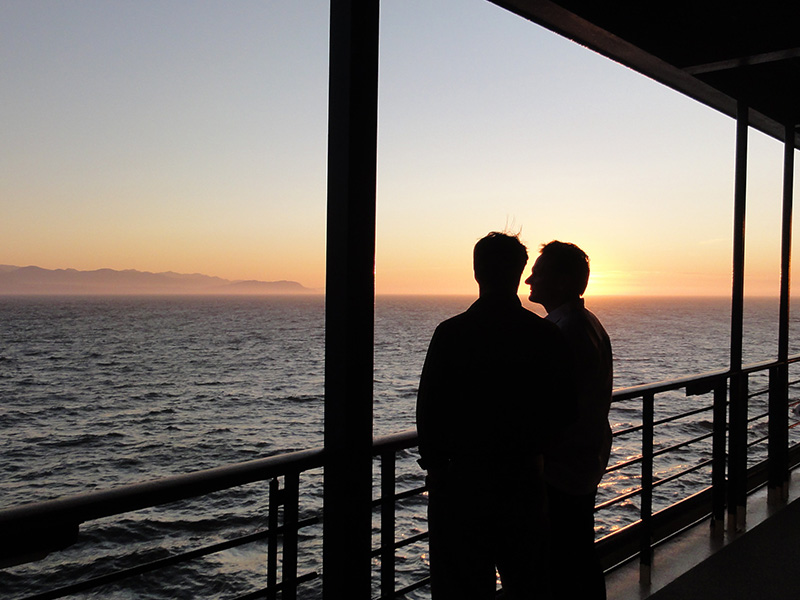 two people on a cruise ship